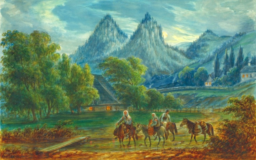 Pojorâta, munţii Adam şi Eva – acuarelă de Franz Xaver Knapp (1809-1883)