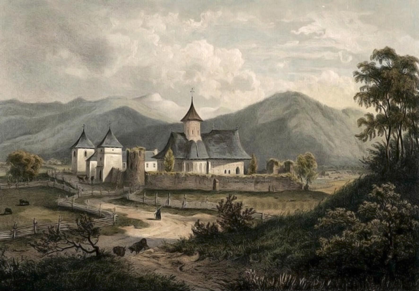 Putna, mănăstirea, în 1860 – acuarelă de Franz Xaver Knapp (1809-1883)