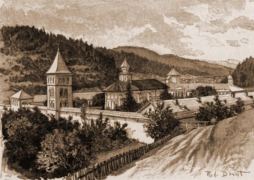 Putna, mănăstire – desen de Rudolf Bernt (1844-1914)