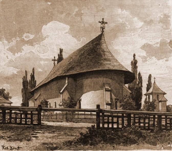 Rădăuţi, biserica Bogdania – desen de Rudolf Bernt (1844-1914)