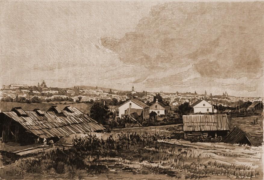 Rădăuţi – desen de Mattias Adolf Charlemont (1820-1871)