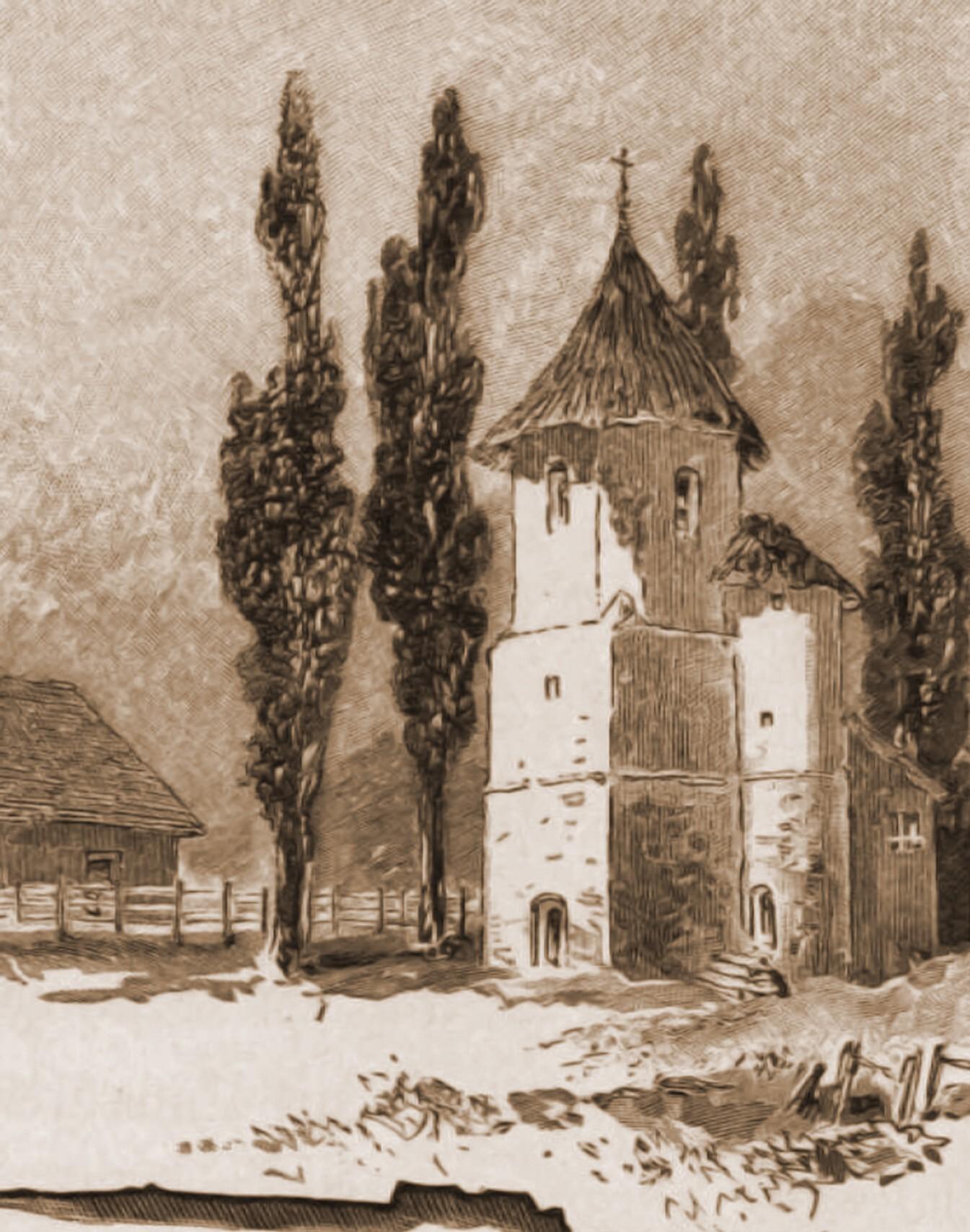 Rădăuţi, clopotniţa Bogdaniei – desen de Rudolf Bernt (1844-1914)