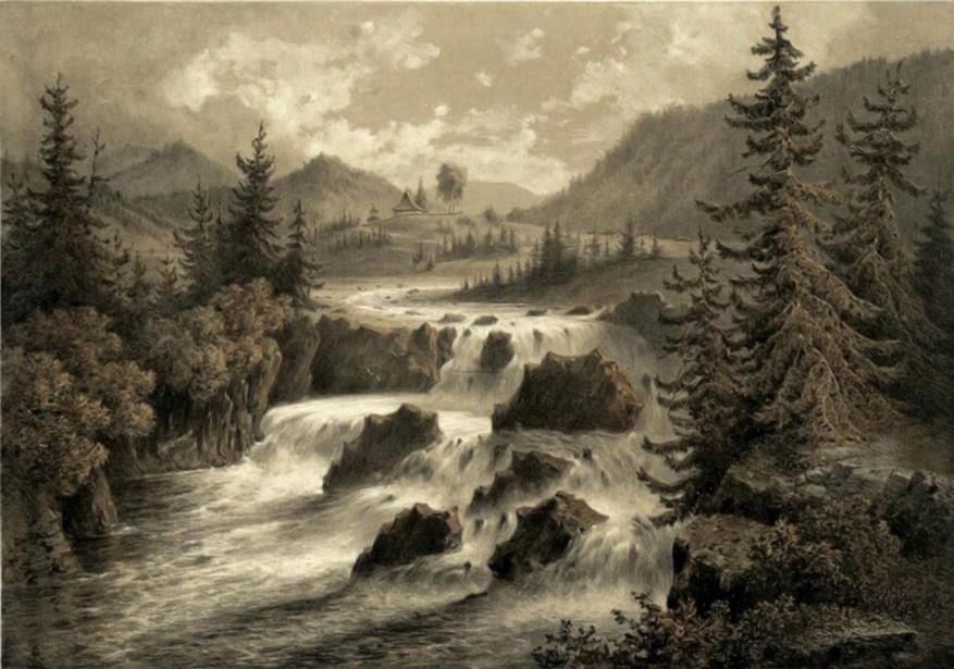 Şipotele Sucevei, Cataractul Sucevei – acuarelă de Franz Xaver Knapp (1809-1883)