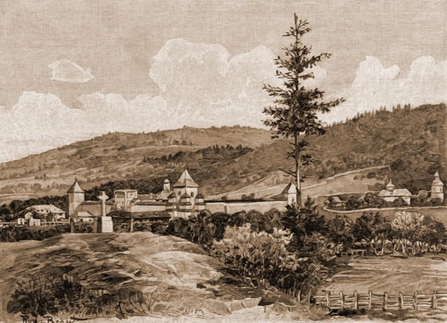 Suceviţa, mănăstirea – desen de Rudolf Bernt (1844-1914)