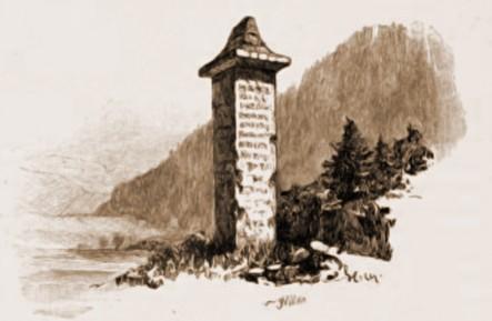 Vama, Stâlpul lui Vodă – desen de Rudolf Bernt (1844-1914)