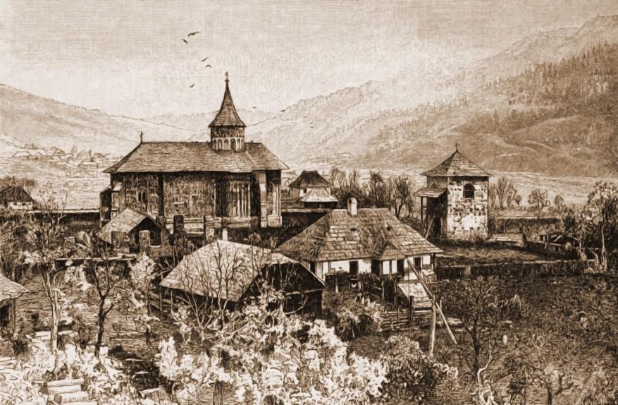Voroneţ, mănăstirea – desen de Rudolf Bernt (1844-1914)