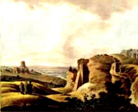 Suceava, Ruinele, în 1805 – acuarelă de Franz Jaschke (1775-1842)