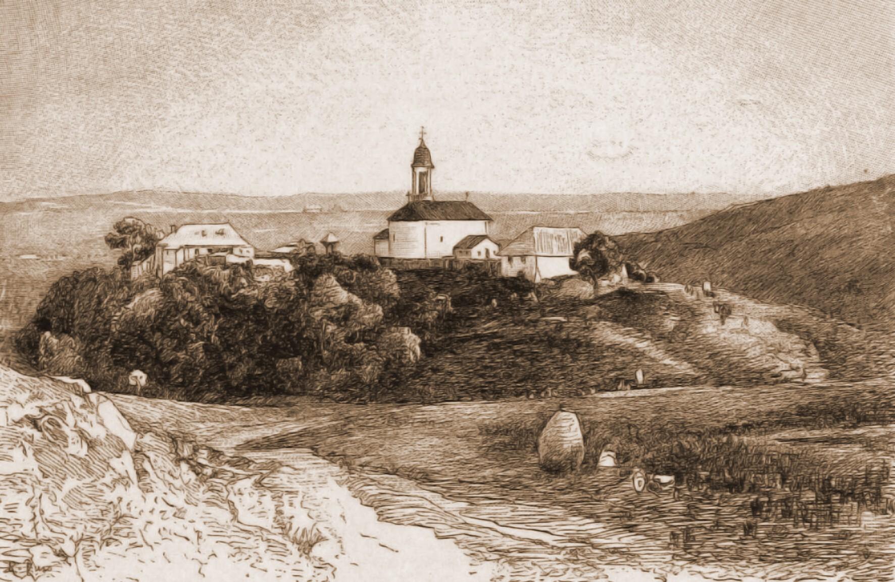 Suceava, mănăstirea Hagigadar – desen de Rudolf Bernt (1844-1914)
