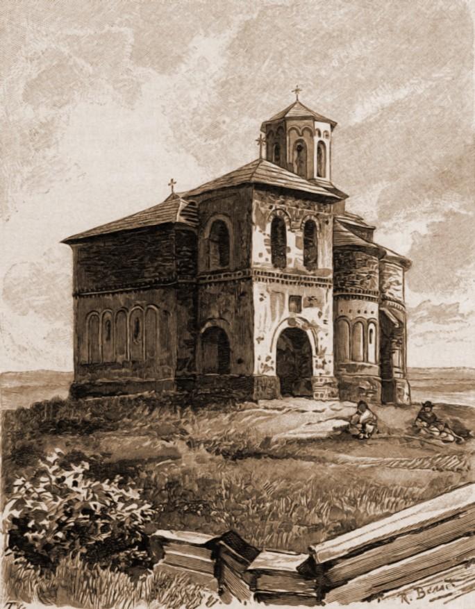 Suceava, biserica Mirăuţi – desen de Rudolf Bernt (1844-1914)