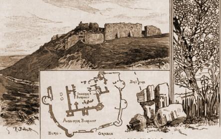 Suceava, ruinele Cetăţii – desen de Rudolf Bernt (1844-1914)