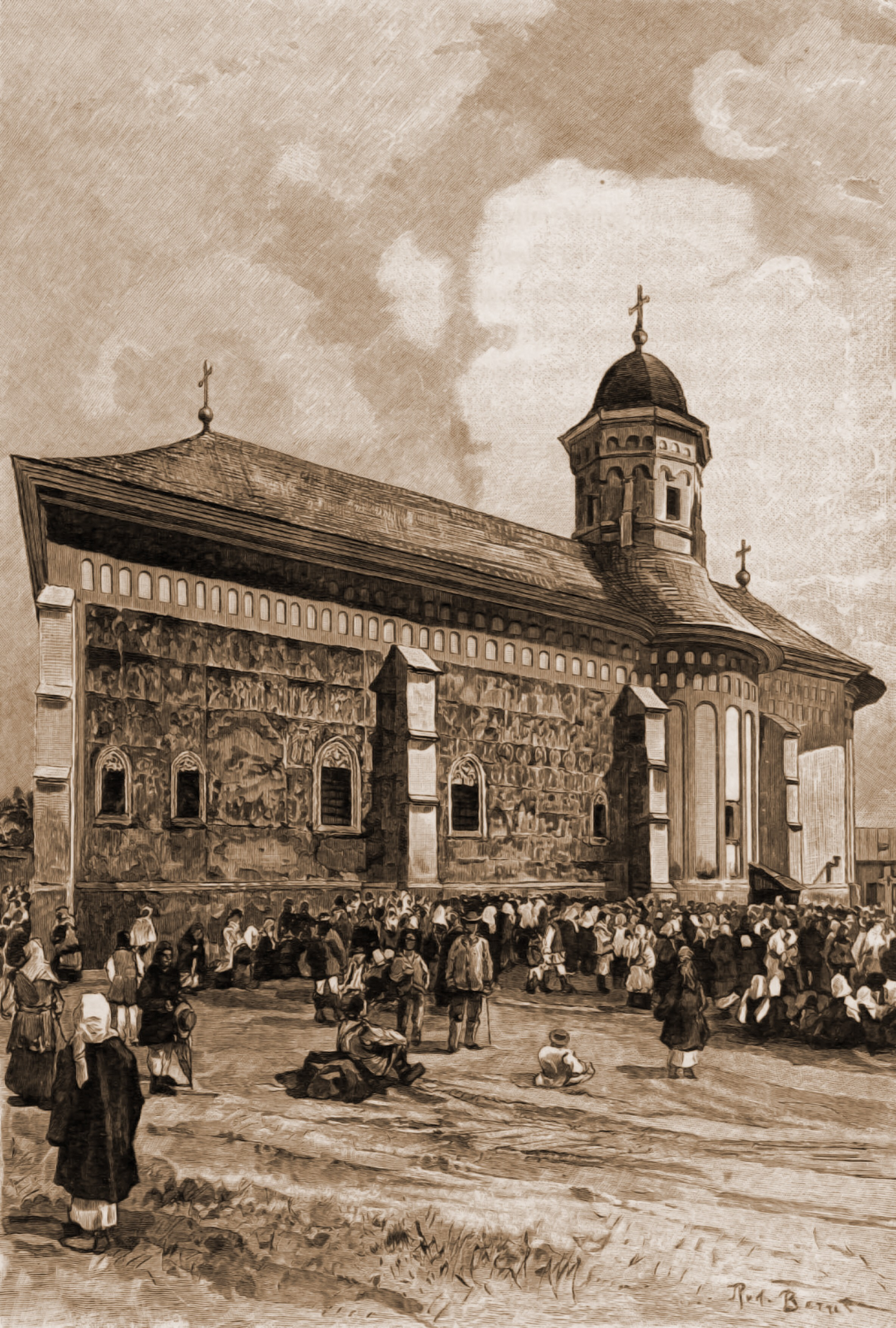 Suceava, biserica Mănăstirii Sf. Ioan – desen de Rudolf Bernt (1844-1914)