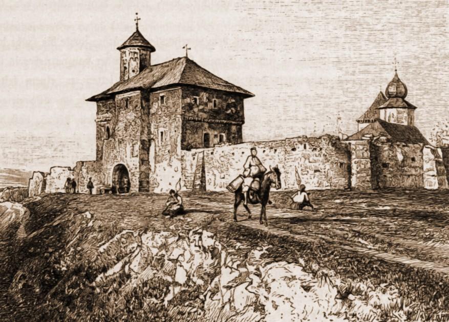 Suceava, mănăstirea Zamca – desen de Rudolf Bernt (1844-1914)