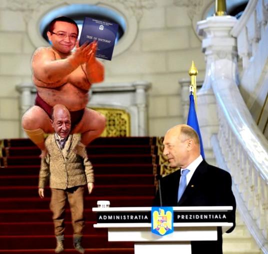 Preşedintele Traian Băsescu: Închipuiţi-vă bugetarii ca un om foarte gras, pe care îl duce în spate un om foarte slab, statul român. Iar statul sunt eu!