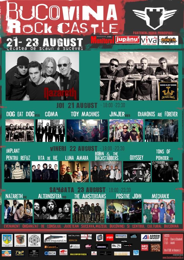 Afişul ediţiei 2014 a Festivalului Internaţional BUCOVINA ROCK CASTLE