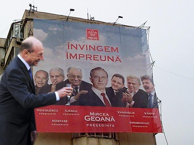 Traian Băsescu: Vă urez să învingeţi împreună... cu Voiculescu, Vântu şi Năstase!