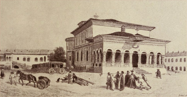 Biserica Sf. Gheorghe Nou, acuarelă de Raffet