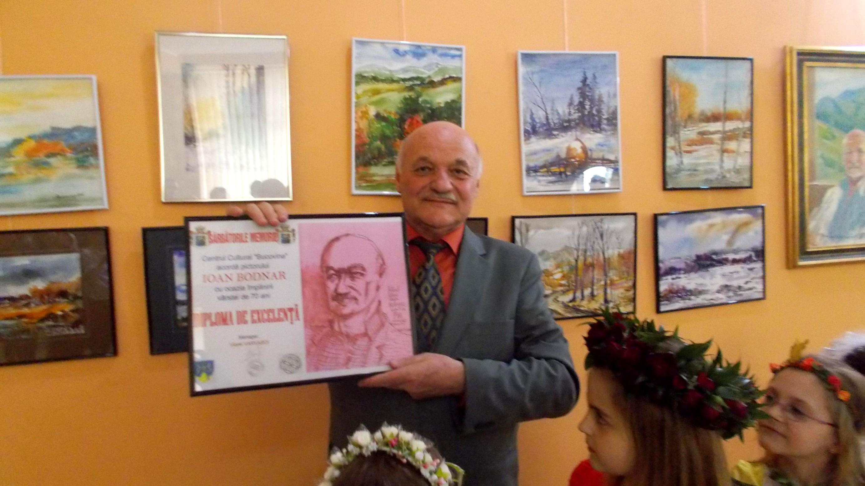 """Pictorul pictor Ioan Bodnar - Diploma de Excelenţă a Centrului Cultural """"Bucovina"""""""