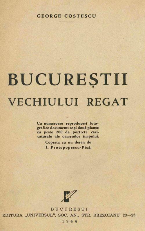 București coperta monografiei lui George Costescu