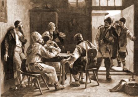 Ţărani, la han – desen de Julius Zalaty Zuber (1867-1918)