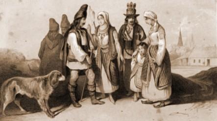 Huţani, în 1832 – desen de I. Schumirsz