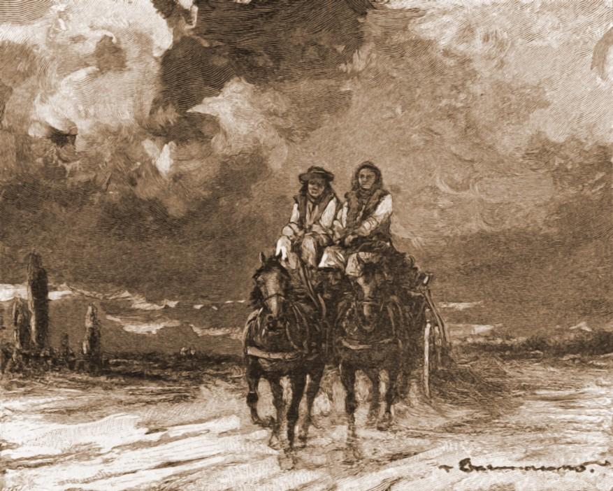 Huţuli, în căruţă – de Mattias Adolf Charlemont (1820-1871)
