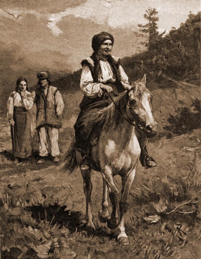 Huţancă, în îmbrăcăminte de vară – desen de Mattias Adolf Charlemont (1820-1871)