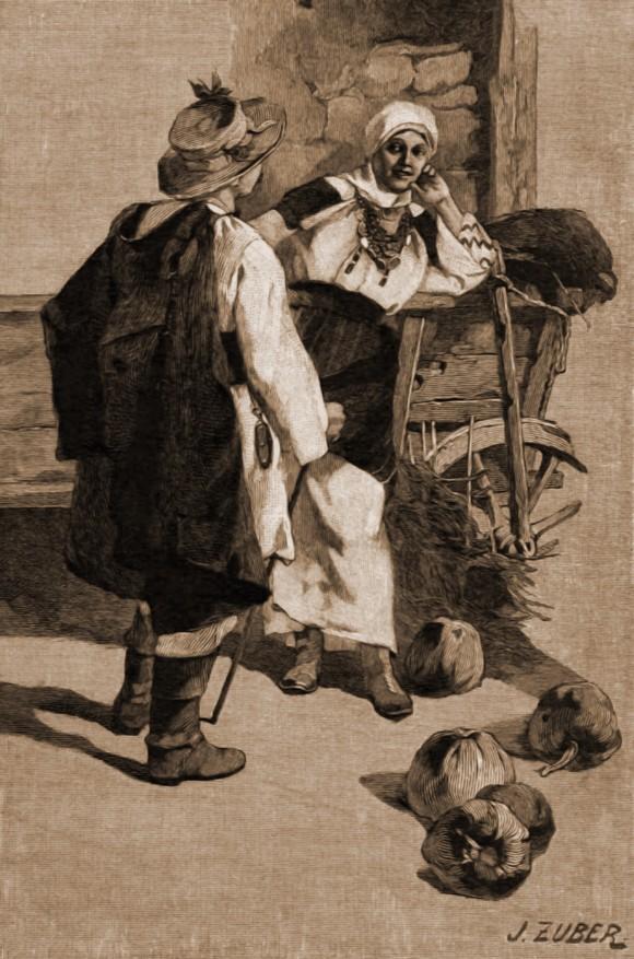 Port în regiunea Nistrului – desen de Julius Zalaty Zuber (1867-1918)