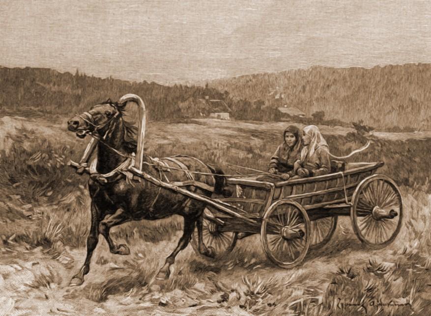Lipovence, în căruţă – desen de Zygmund