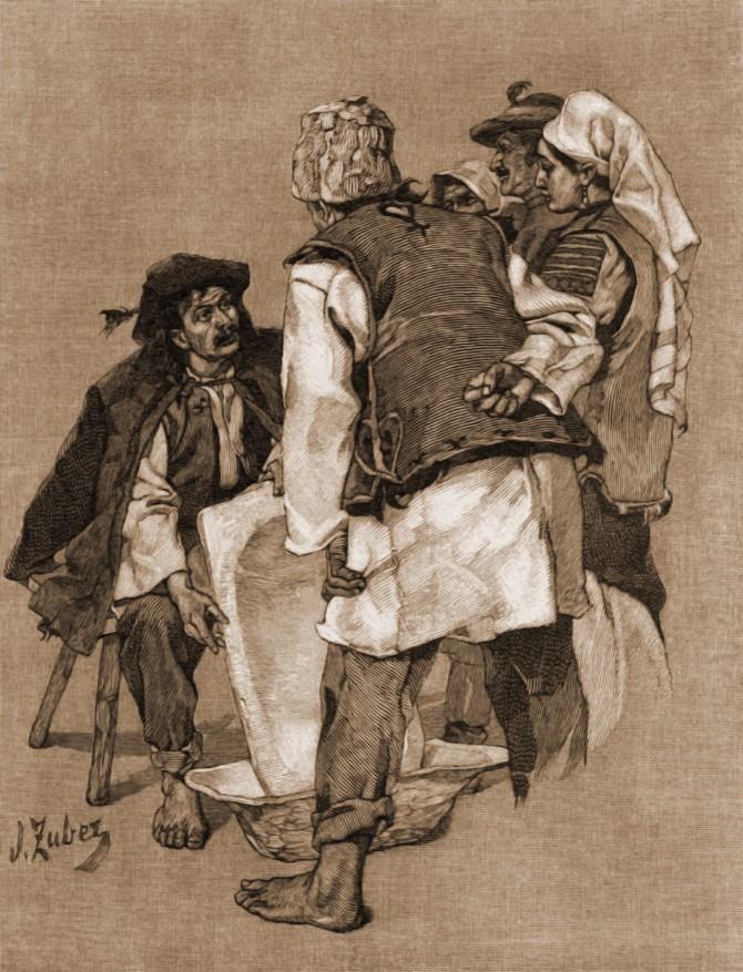 Ţigan cu covată – de Julius Zalaty Zuber (1867-1918)