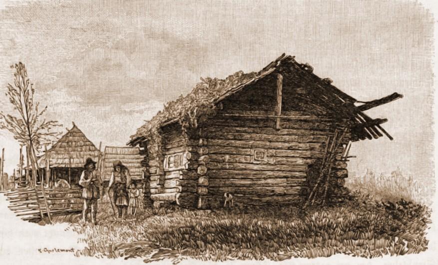 Colibă huţulă în Rus pe Boul – desen de Mattias Adolf Charlemont (1820-1871)
