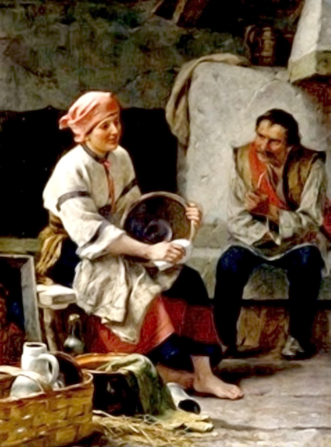 Coliba din Carpaţi (huţulă) – tablou de Julius Zalaty Zuber (1867-1918)