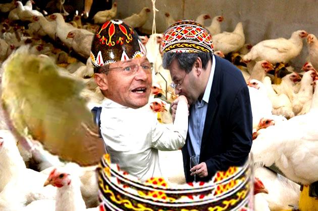 Traian Băsescu: Corneliule, de unde dracu' ai mai scos liftul ăsta? Corneliu Popovici: Săru-mâna, boierule, da-i un lift tradiţional, cu care m-a sustras Flutur din tabăra lui Mîrza...