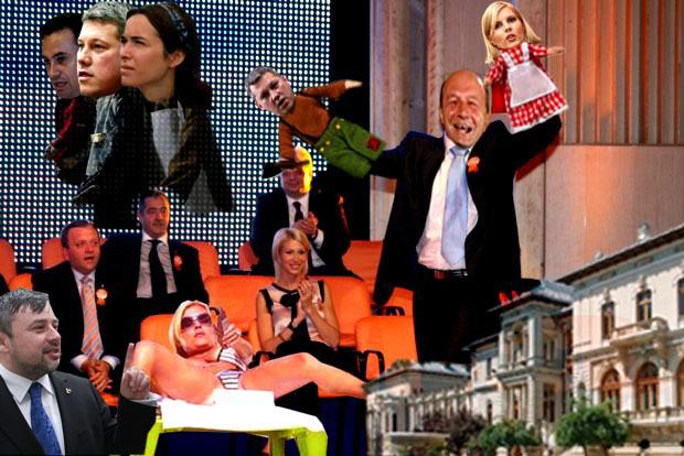 Traian Băsescu: Ne prefacem că ieşim cu păpuşoiul şi-i atacăm devastator cu păpuşa Elena! Ioan Balan: Aaa, am priceput... Deci, dau următorul comunicat de presă: Membrii PDL din regiunea nord-est au votat, sâmbătă, ca viitorul candidat al partidului la alegerile prezidenţiale să fie Cătălin Predoiu, el obţinând 87,62 la sută din voturi, fiind urmat de Gheorghe Falcă cu 10,38 la sută din voturi şi Simona Creţu cu 1,67 la sută din voturi (Mediafax).