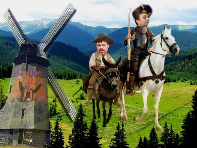 Don Quijote Flutur: Ia vei, Sancho Bălan Panza, dacă moara aia de vânt ne este ostilă sau nu! Ioan Bălan: Se preface că nu, dar s-a dat cu liberalii lui Băişanu!