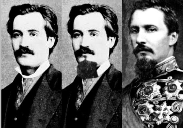 Eminescu, Eminescu cu barba... rubedeniei lui (trucaj) şi Alexandru Ioan Cuza