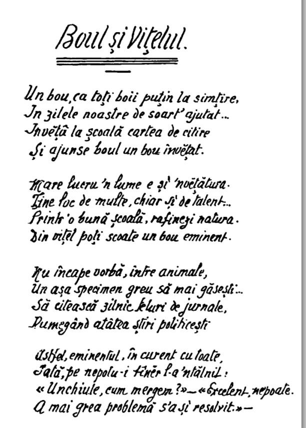 Caragiale Boul si vitelul Calendar 1909 p 52