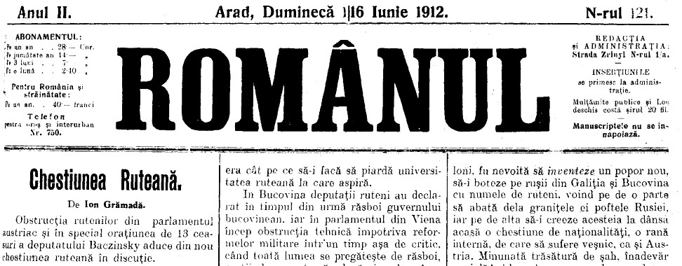 Chestiunea ruteana ROMANU 121 16 iunie 1912