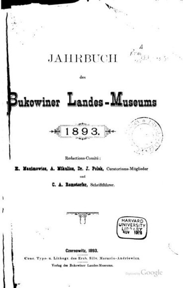 Coperta interioara Bukowiner-Landes-Museums