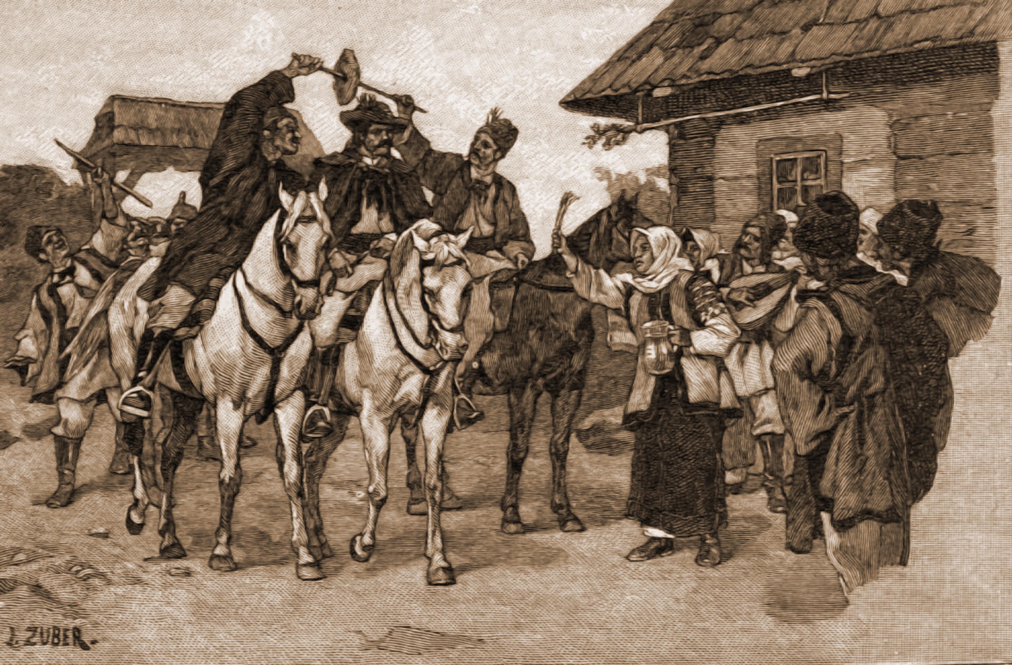 Chemarea la nuntă, la români – desen de Julius Zalaty Zuber (1867-1918)