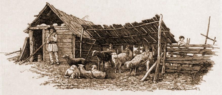 Stână românească – desen de Mattias Adolf Charlemont (1820-1871)