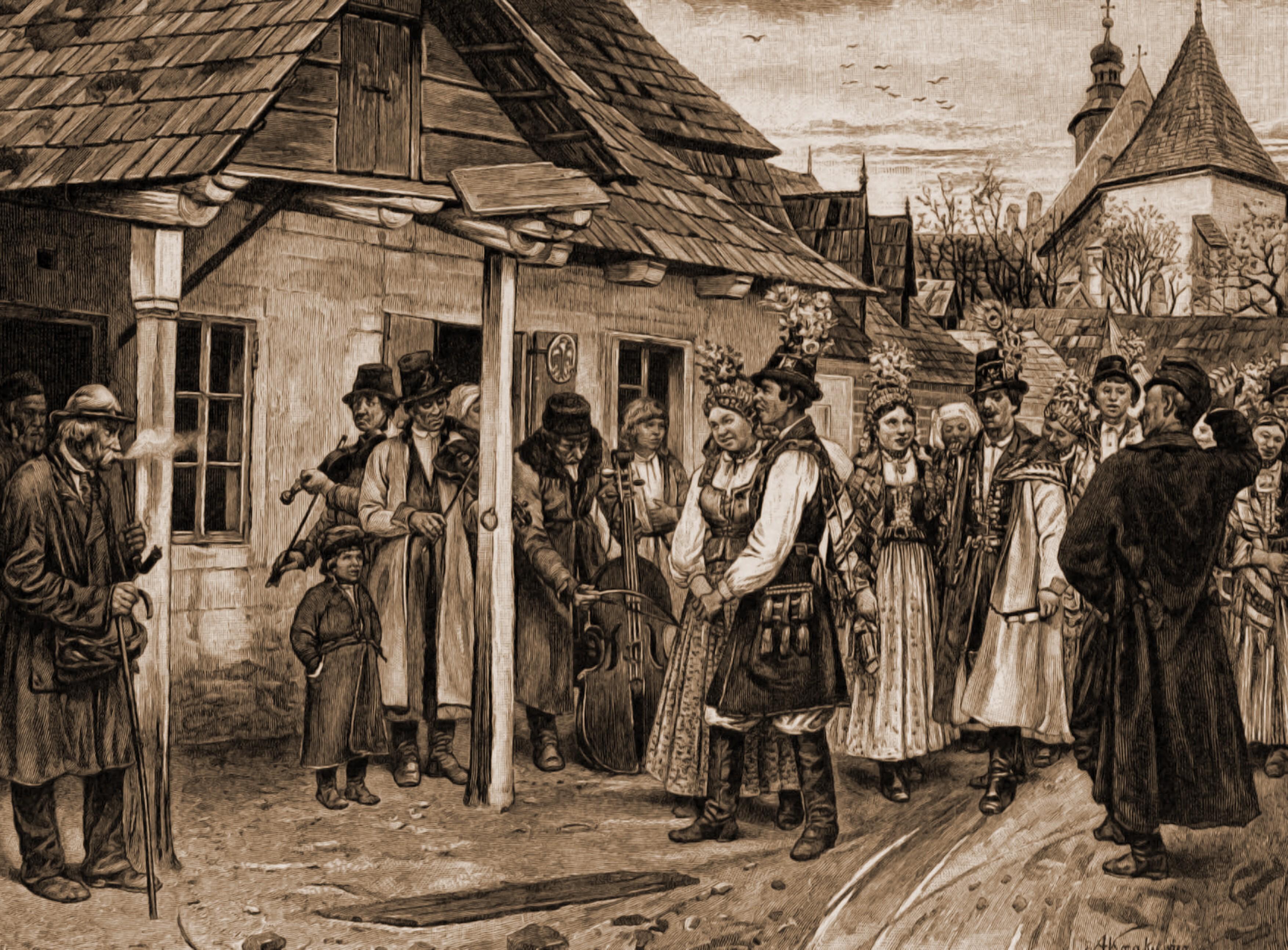 Taraf de lăutari evrei din Kolomeea, la o nuntă polonă