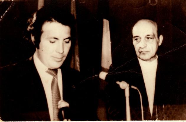 1978, cu actorul Dinu Ianculescu, lecturând poemul în premieră