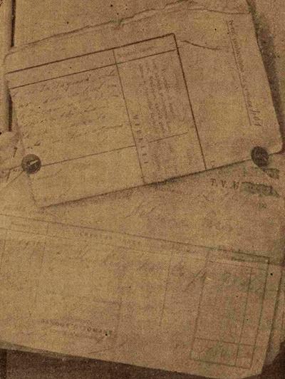 Documente senzationale: borderourile cu care Nehama a trimis bani soțului, din exploatarea sa, bani cu care l-a întreținut, pe urma criminalei vânzări. Printre documente, și actul de căsătorie al Nehamei cu acest traficant de femei, Gross.