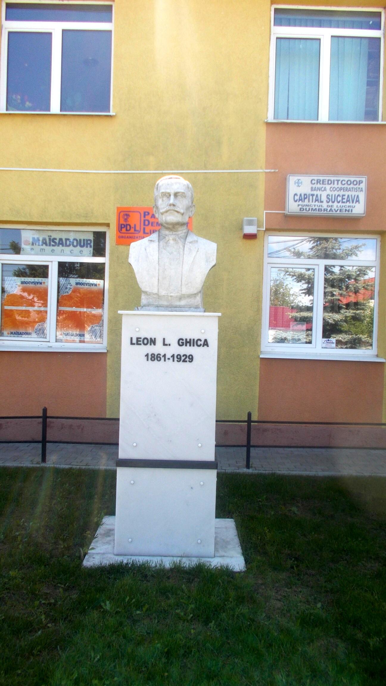 Bustul lui Leon Ghika de la Dumbrăveni