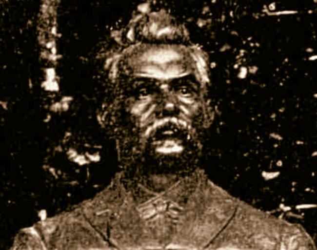 EMINESCU bustul din Dumbraveni detaliu bust sepia