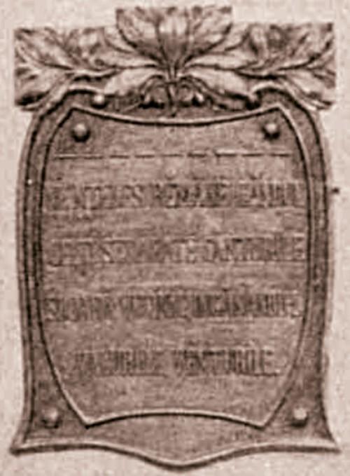 EMINESCU bustul din Dumbraveni detaliu soclu sepia