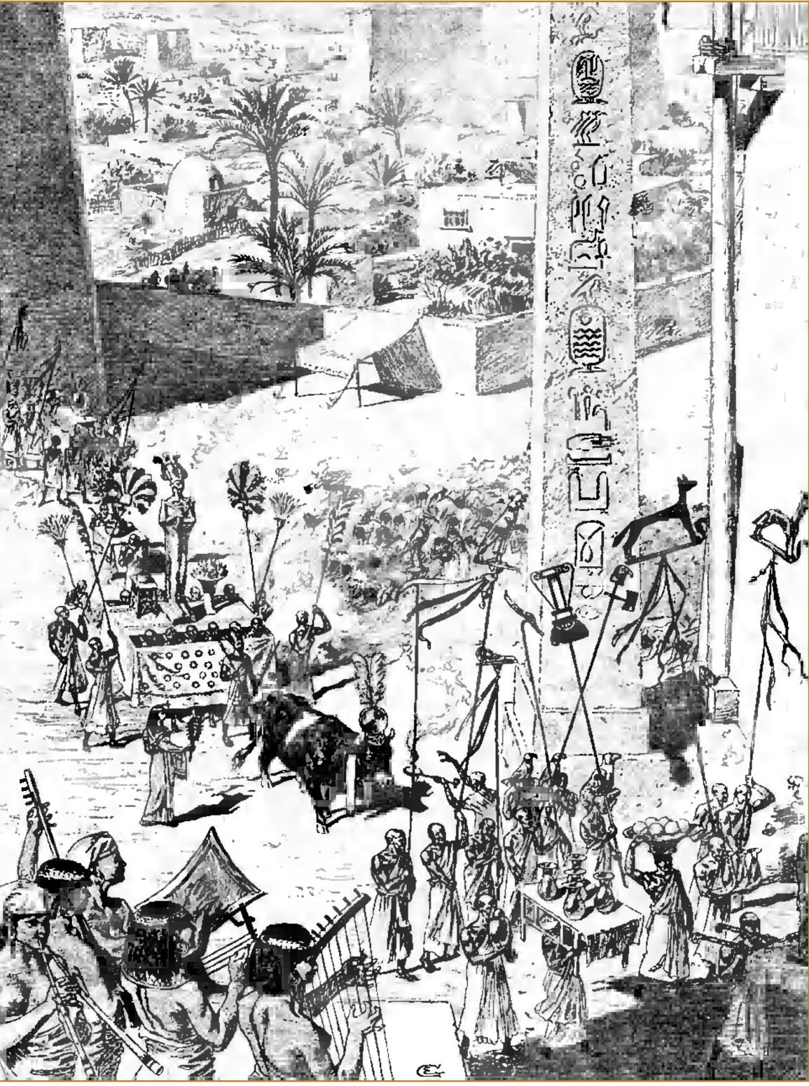 Omagierea Boului Apis, în Egyptian Mythology A to Z p 36
