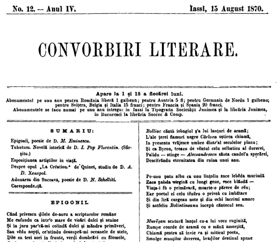 Eminescu Epigonii CONVORBIRI nr 12 1870