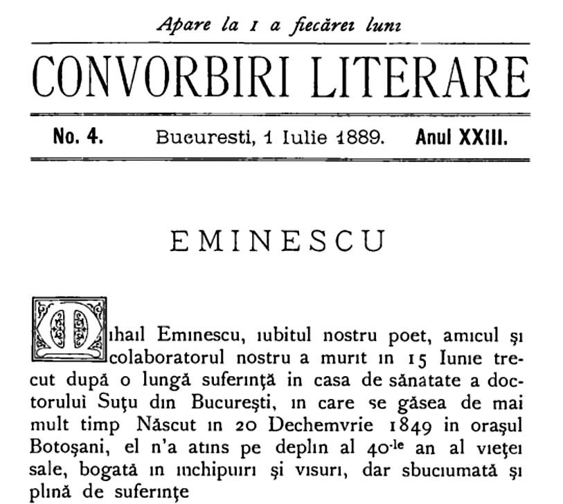 Eminescu necrolob CONVORBIRI LITERARE nr 4 1889