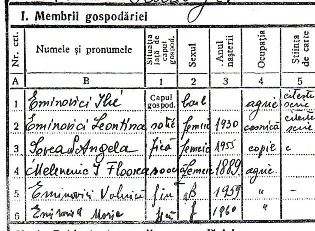 Ilie Eminovici, în Registrul Agricol al Sălăgenilor